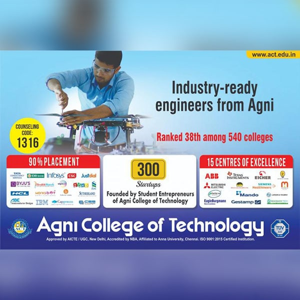 Industry Ready Engineers From Agni Ranked 38th Among 540 Colleges
