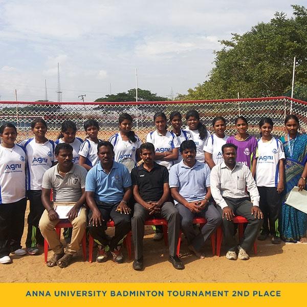Anna University Zone-3 Ball Badminton Tournament Second Place