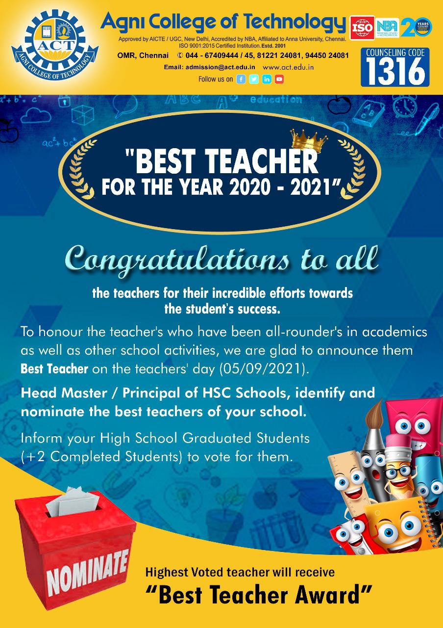 Head Master / Principal Nomination for Best Teacher